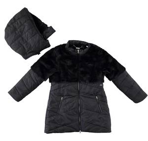 Padded jacket doubled in faux fur BLACK