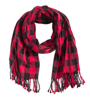100% checked cotton pashmina RED