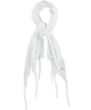 Lace pashmina with fringes and pom poms on the bottom CREAM