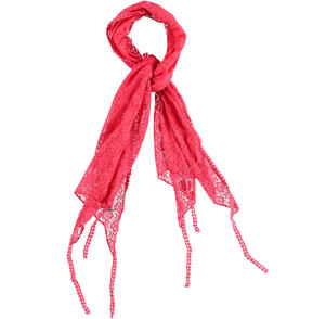 Lace pashmina with fringes and pom poms on the bottom RED