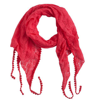 Lace pashmina with polka dot trimming RED