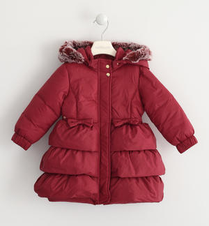 Down jacket with ruffles on the bottom PINK