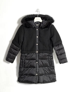 Padded jacket with wool blend bodice and satin polka dot lining  BLACK