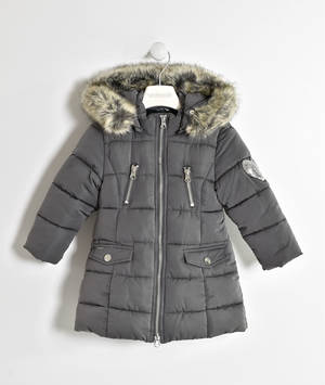 Padded jacket with sequined heart and detachable hood GREY