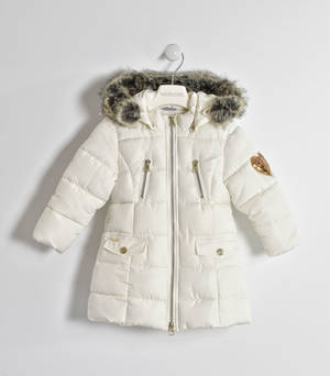 Padded jacket with sequined heart and detachable hood CREAM