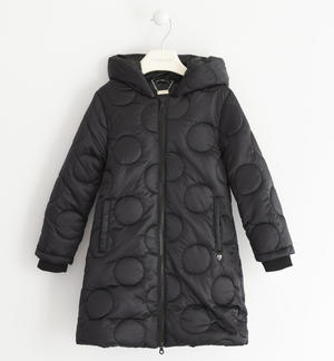 Down jacket padded with wadding with polka dot embroidery BLACK