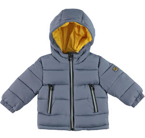 Padded and quilted jacket with contrast lining GREY