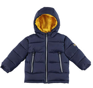 Padded and quilted jacket with contrast lining BLUE