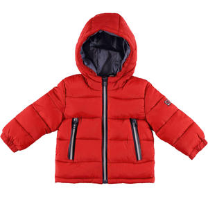 Padded and quilted jacket with contrast lining RED