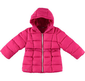 Padded down jacket decorated with ruffles  FUCHSIA