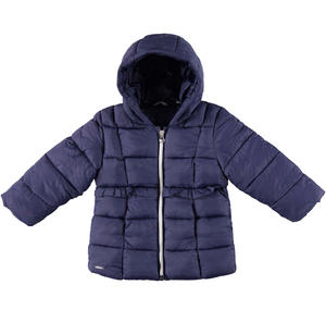 Padded down jacket decorated with ruffles  BLUE