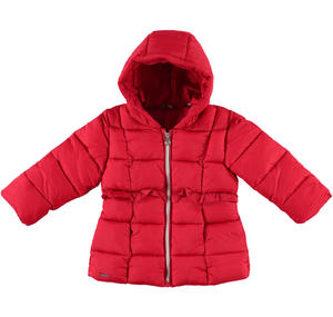 Padded down jacket decorated with ruffles  RED