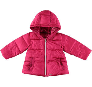 Goose down padded quilted jacket with hood and ruffles  FUCHSIA