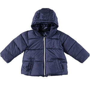 Goose down padded quilted jacket with hood and ruffles  BLUE