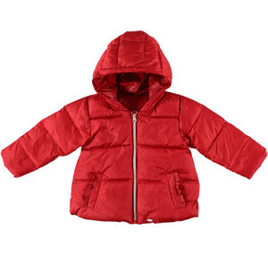 Goose down padded quilted jacket with hood and ruffles  RED
