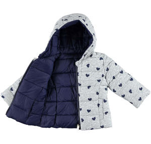 Padded reversible quilted jacket with hood and hearts  BLUE