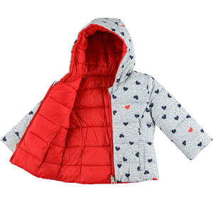 Padded reversible quilted jacket with hood and hearts  GREY