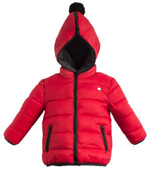Cotton padded jacket with a detachable hood RED