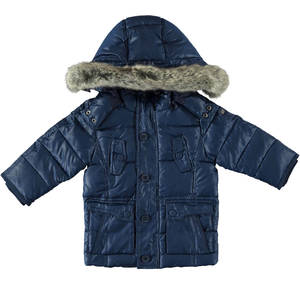 Real goose down with hood and fur. BLUE
