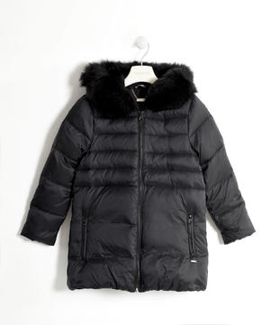 Real goose down jacket with a satin polka dot lining  BLACK