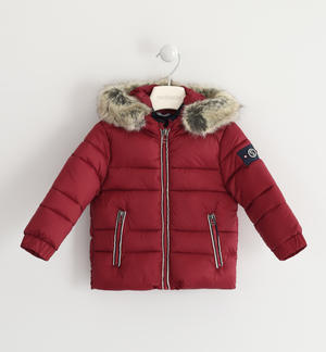 Nylon winter down jacket padded with cotton wool RED