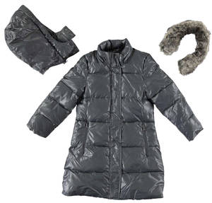 Winter cotton padded jacket lined in synthetic fur GREY