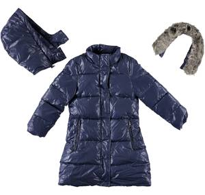 Winter cotton padded jacket lined in synthetic fur BLUE
