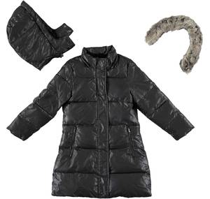 Winter cotton padded jacket lined in synthetic fur BLACK