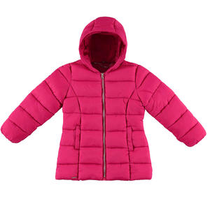 Medium length winter quilted jacket padded in wadding FUCHSIA