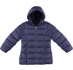 Medium length winter quilted jacket padded in wadding BLUE