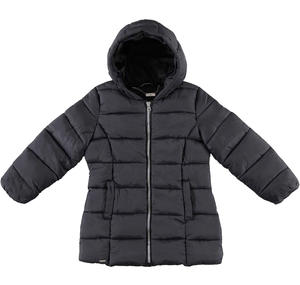 Medium length winter quilted jacket padded in wadding BLACK