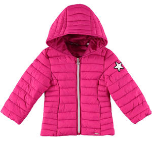 Lightweight  down jacket with laminated star FUCHSIA
