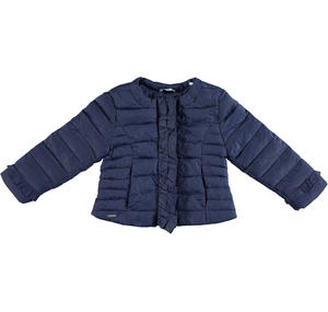 Lightweight nylon down jacket embellished with peplums BLUE