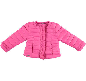 Lightweight nylon down jacket embellished with peplums PINK