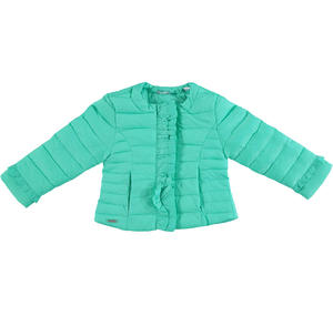 Lightweight nylon down jacket embellished with peplums GREEN