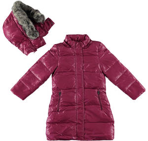 Long goose down padded long jacket lined in faux fur RED