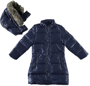 Long goose down padded long jacket lined in faux fur BLUE