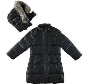 Long goose down padded long jacket lined in faux fur BLACK
