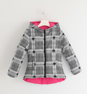 Reversible down jacket with checked pattern FUCHSIA