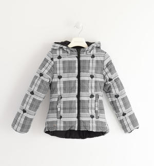 Reversible down jacket with checked pattern BLACK