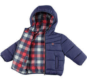 Reversible padded quilted jacket with hood  BLUE