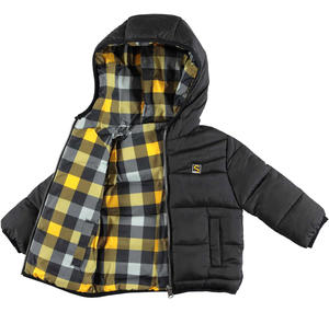 Reversible padded quilted jacket with hood  BLACK
