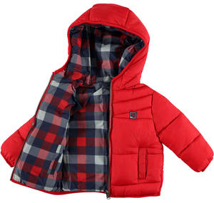 Reversible padded quilted jacket with hood  RED