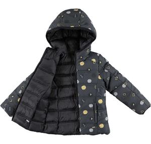 Reversible padded jacket with a digital pattern BLACK