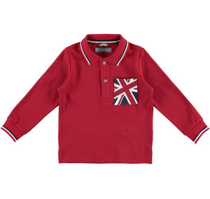 100% warm cotton polo shirt with an English flag pocket  RED
