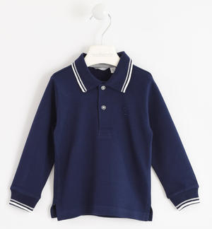 100% cotton polo shirt with striped rib BLUE