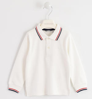 100% cotton polo shirt with striped rib CREAM