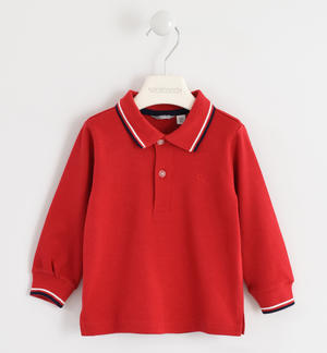 100% cotton polo shirt with striped rib RED