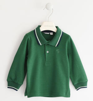 100% cotton polo shirt with striped rib GREEN