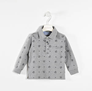 100% cotton polo shirt with oxford and star grosgrain inserts  GREY